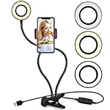 Unifree TT03 Professional Selfie Ring Light and Cell Phone & Webcam Stand for Live Stream, Makeup TIK Tok, Vigo, YouTube and Video Recording.(Black & White)