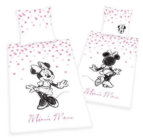 Arle-Living Disney Minnie Mouse Bettwäsche - 135x200 + 80x80 cm mit Wendemotiv - 100% Baumwolle Renforcé