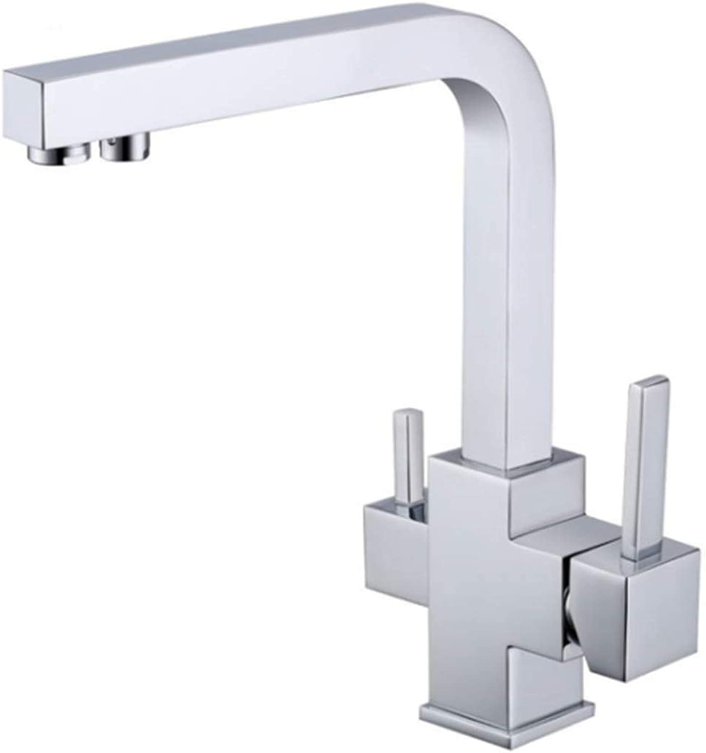 Taps Kitchen Basin Bathroom Washroomsquare Kitchen Faucet with Double-Functions Kitchen Faucet Three Way Tap for Water Filter