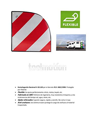 v20 Placa Homologada Portabicicletas para Carga Saliente, Panel V-20 Plástico ABS, Anti Arañazos Flexible y Protección 50x50cm