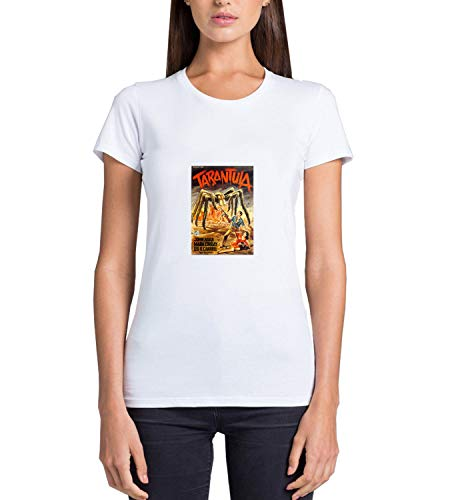 GlamourLab Tarantula 1955 Retro Vintage Scary Spider Movie Poster_R4071 para Mujeres Camiseta T-Shirt Tshirt T Shirt Gift For Her Funny Present - M White Women's