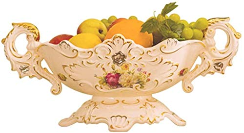 GDFEH Bandeja de fruta creativa retro para la casa, cuenco decorativo para frutas, verduras, aperitivos, hogar, almacenamiento de cocina (color: beige, tamaño: 43 x 21 x 19 cm)