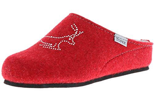 TOFEE Damen Hausschuhe Pantoffeln Naturwollfilz (Hirsch) rot, Größe:41, Farbe:Rot