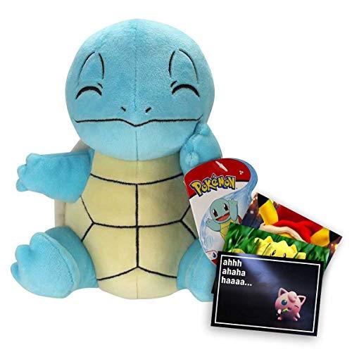 Lively Moments Pokemon Plüschtier ca. 20 cm / Kuscheltier / Plüschfigur Schiggy mit geschlossenen Augen / Squirtle + Exklusive GRATIS Grußkarte