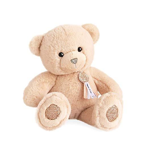 Hoogwaardige pluche beer ca. 24 cm met harthanger op lederen band extreem zacht pluche om te knuffelen (beige)