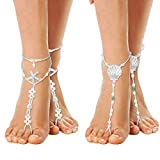 Cosweet 2 Pairs Barefoot Sandals Anklet Chain with Starfish Scallop for Women Lady's Beach Wedding Foot Jewelry Party Accessories