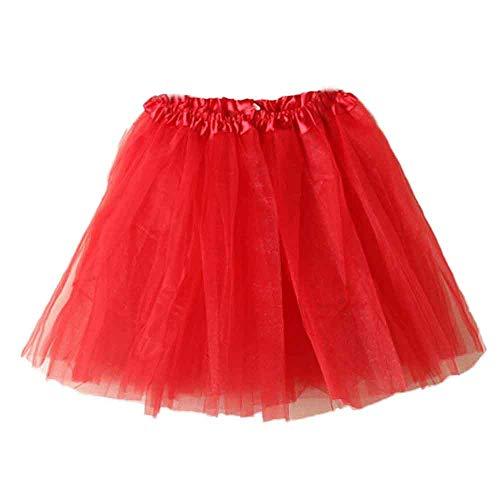 Lazzboy Donna tutù Gonna Mini Tulle Organza Petticoat Balletto Danza Layred Taglia 36-48(36-48,Rosso)