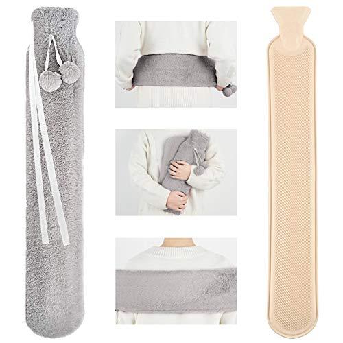 VDSOW - Borsa dell'acqua calda con coperchio da 2 l, con collo lungo e spalla, con cintura in morbido pile, colore: grigio, grande borsa per acqua calda per bambini, amici