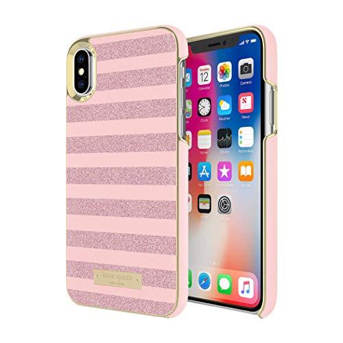 Kate Spade New York Wrap Case for iPhone Xs/iPhone X - Glitter Stripe Rose Quartz Saffiano/Rose Gold Glitter