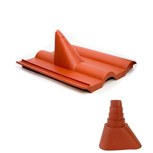 PremiumX Frankfurter Dachpfanne Rot SAT Dachabdeckung Pfanne Dachziegel aus Kunststoff PVC Antennen-Durchgangsziegel mit Manschette