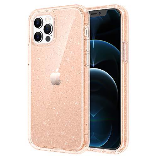 Maxdara Case for iPhone 12 Pro Max Glitter Case, iPhone 12 Pro Max Case for Women Girls Bling Sparkle Luxury Crystal Glitter Clear Case for iPhone 12 Pro Max (6.7 inch), Glitter Rosegold