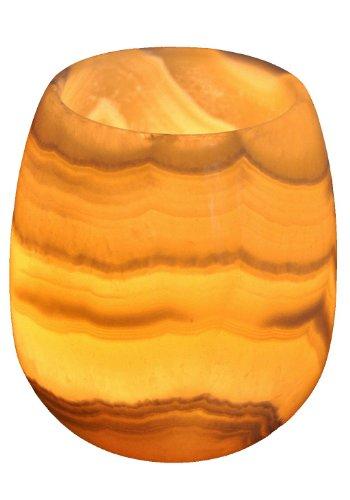 Echter ägyptischer Alabaster-Stein / Marmor Kerzenhalter Votiv ALB-170