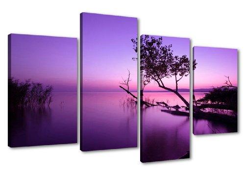Bilder und Kunstdrucke auf Leinwand 130x80 cm Bild Nr 6177 Pink Lila See fertig gerahmt 4 Teile Marke original Visario