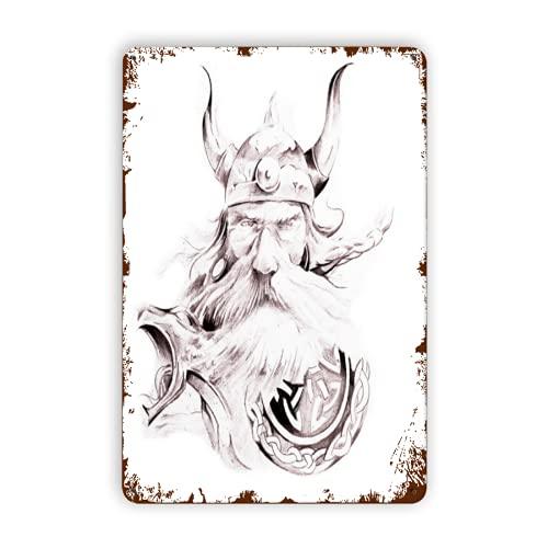 GOCHAN Letreros de metal,Tatuaje sabio, viejo y valiente guerrero vikingo con su larga barba blanca y armadura seca rosa blanca, Decoración de pared de pintura de hierro de pared de cartel de chapa