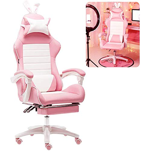 Heim Gaming Stuhl Bürostuhl, Rosa Liegestuhl Für Mädchen/E-Sport-Drehstuhl Mit Lenden-/Kopfkissen/Fußstütze/Sitzhöhenverstellung,Rosa,Tolerate: 150Kg,with Footrest
