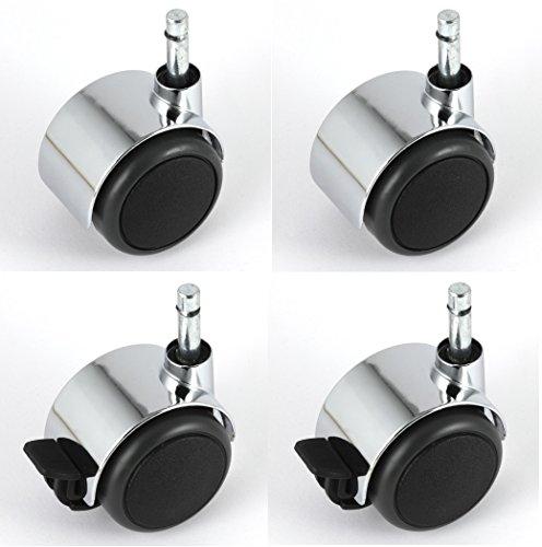 Satz Möbelrollen Chrom 50 mm Klemmstift 8 mit PU-Bereifung grau spurlos für harte Böden Hartbodenrolle je 2 Stück mit und ohne Bremse