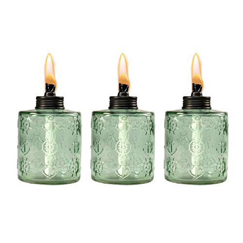 TIKI Brand 1118129 Set Sail Glass Table Torch 3-Pack 5.5-inch, Green