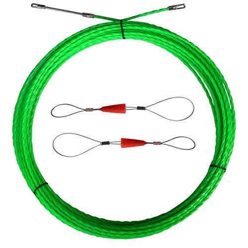 Aewio ロッド径 4.5mm 20m 通線ワイヤー スチールワイヤー 配線 通線工具 入線専用ワイヤー (20mグリーン)