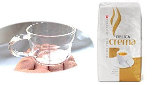 Delica Caffe Crema ganze Bohnen + Design Glastasse, Kaffeetasse, Kaffee, Tasse, Glas, Espresso 100ml, 4er Pack im Geschenk Karton