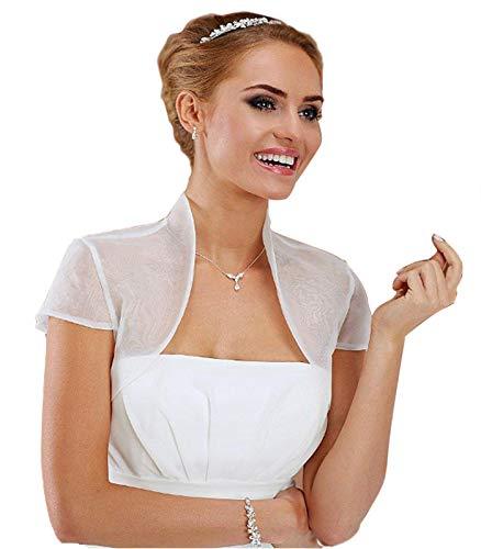 TIANSHIKEER - Giacca da donna in raso/pizzo e tulle, a maniche lunghe, bolero per matrimonio, cocktail Bianco-1 44