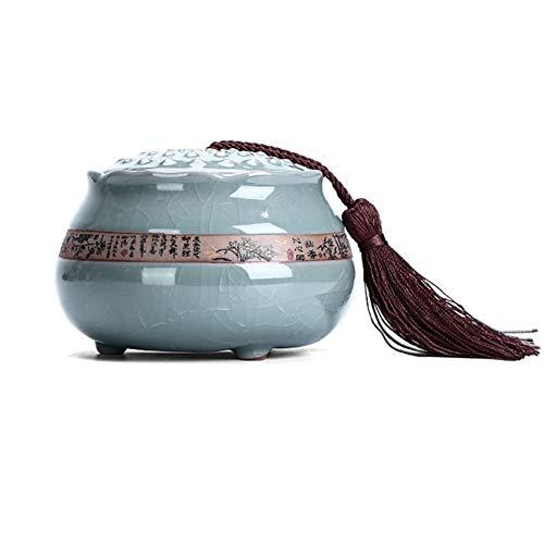 ZWSHOP De style japonais en céramique Tea Caddy, boîtes portables étanches, boîtes à thé de stockage (environ 160 g de thé)