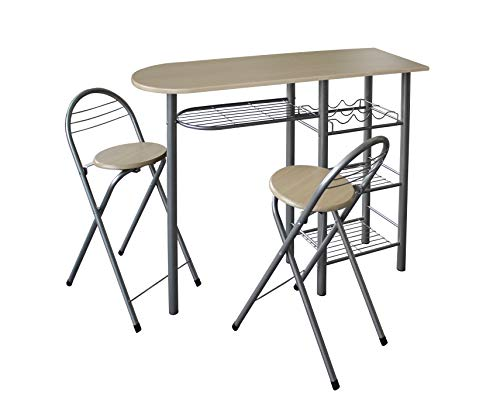 0077-Modern Breakfast Bar Table Set Stools Storage Shelves Wine Rack Kitchen