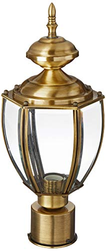 Livex Lighting 2009-01 Transitional One Light Post-Top Lanterm from Outdoor Basics Collection Finish, Antique Brass