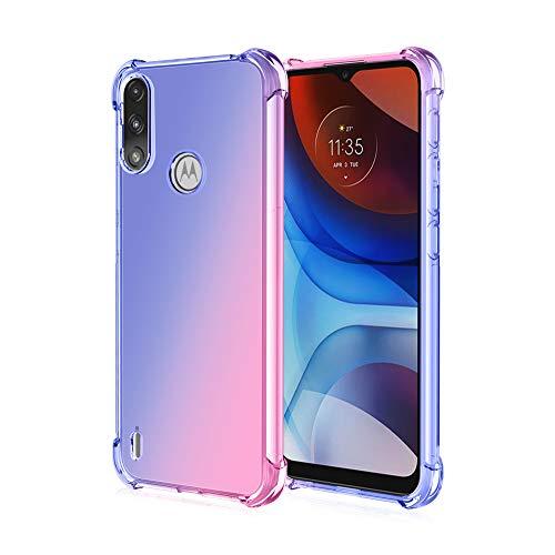 GOGME Hülle für Motorola Moto E7i Power / E7 Power, Farbverlauf-TPU Handyhülle, [Vier Ecken Verstärken] Weiche Transparent Silikon Soft TPU Hülle Schock-Absorption Durchsichtig Schutzhülle (Blau/Rosa)