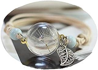 armband damen echte Pusteblume mit Gießharz Blattanhänger Holzperlen.