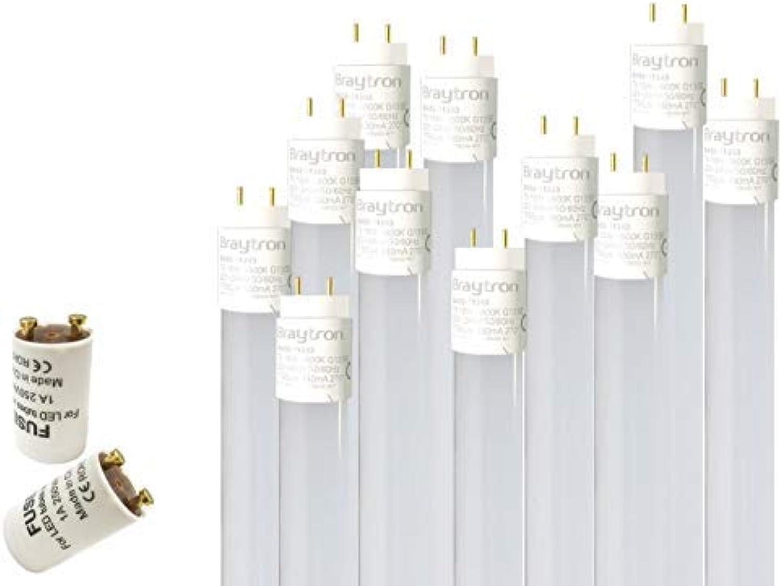 10x 120cm LED Rhre G13 T8 Leuchtstoffhre Tube   18W Neutralwei (4200K) 1750 Lumen 270° Abstrahlwinkel inkl. Starter 10er Pack milchweie Abdeckung