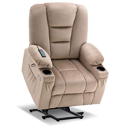 Mcombo Electric Power Lift Recliner Chair with Massage and Heat for Elderly, Extended Footrest, Hand Remote Control, Lumbar Pillow, Cup Holders, USB Ports, Fabric 7529 (Beige)