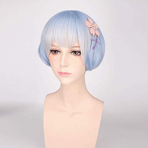 Bleu Clair Rose Mixte Droite Courte Bangs légère Inward Cheveux bouclés Queue Perruque Naturelle Haute température de Soie synthétique Cheveux Fille Kawaii réglable Respirant,Light Blue