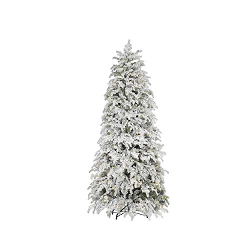 Mazzeo Albero di Natale innevato Pino Rubinia cm 210 con luci e Apertura a Ombrello