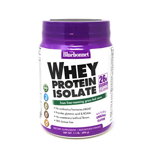 Bluebonnet Nutrition Whey Protein Isolate Powder, Whey from Grass Fed Cows, 26 Grams of Protein, No Sugar Added, Non GMO, Gluten Free, Soy Free, Kosher Dairy, 1.1 lbs, 16 Servings, Original Unflavored