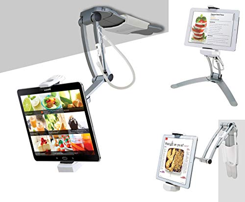 """CTA Digital: 2-in-1 Kitchen Tablet Stand Wall/Desktop Mount W/Stylus for 7-13"""" Tablets/iPad 10.2-Inch(7th & 8th Gen)/12.9-Inch iPad Pro/11-Inch iPad Pro/Air 3/Galaxy Tab A 10.1/Surface Pro 6 & More"""