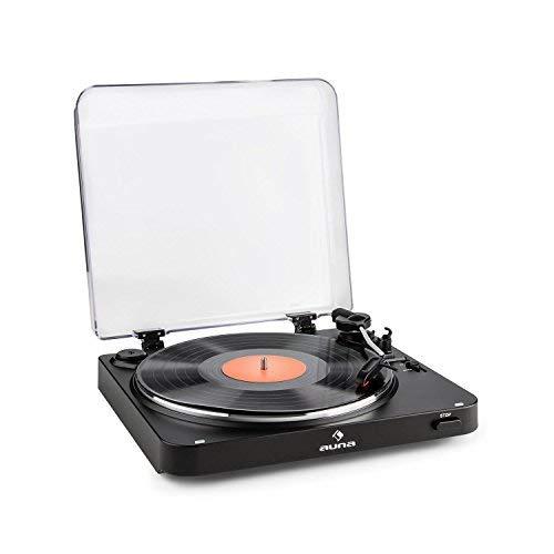 auna TT-30 BT Tocadiscos (emisor bluetooth, reproductor de discos vinilo, diseño retro, incluye fonocaptor pre montado) - negro
