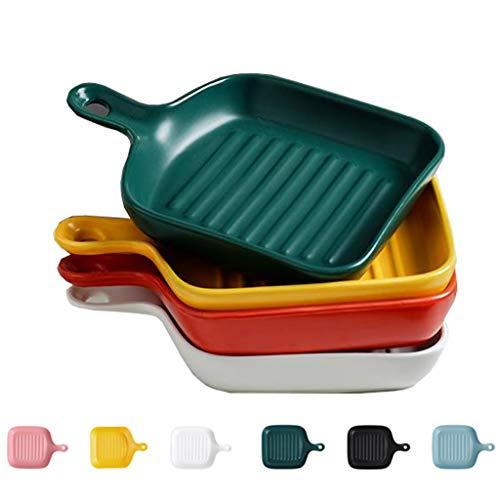 N / A 6-farbiges Keramikgeschirr Steinzeug Set Quadrat Mit Keramikgriff Mikrowelle Backofen Geschirrspüler Sicher Zu Bedienen (6 Zoll)