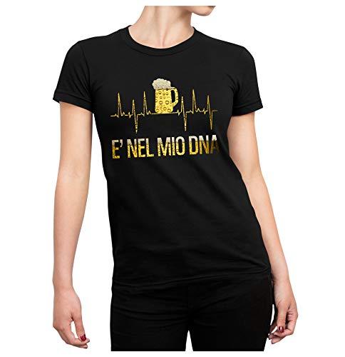 Colorfamily Tshirt Divertente Uomo Donna elettrocardiogramma Birra - egc - è nel Mio Dna - t-Shirt Divertente