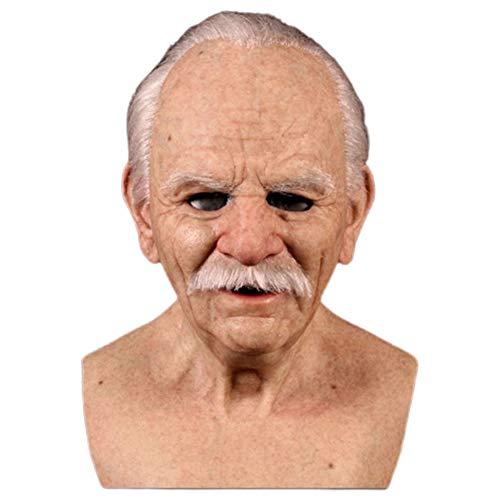 wongbey Realistic Halloween Masken, Latex Vollmaske, Halloween Elder Old Man Chinless Maske Lustige Maske Cosplay Requisiten für Partykostüme für Erwachsene, Realistisches Aussehen