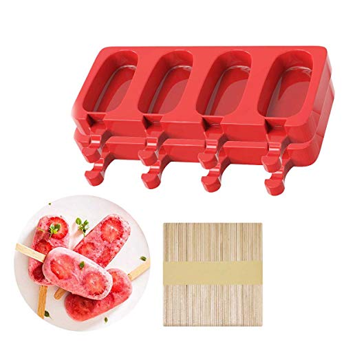LYiUP Popsicle Molds, Silicone Ice Pop Molds Homemade Ice Cream Mold Red...