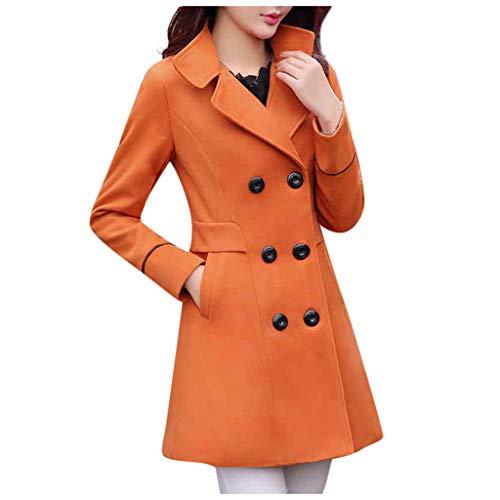 Damen Zweireiher Wollmantel Elegante Arbeits Anzug Jacke FRAUIT Frauen Knopf Stehkragen Einfarbig Zwei Taschen Elegant und Modisch Schlack Trenchcoat Mantel Wintermantel Outwear (L, C-Orange)
