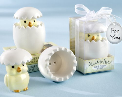 """About to Hatch"" Ceramic Baby Chick Salt & Pepper Shakers - Baby Shower Gifts & Wedding Favors (Set of 12)"