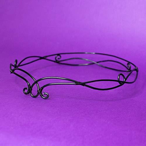 Avada elfic tiara de alambre, Tiara elfo estilo para bodas, disfraces, fiestas temáticas, LARP, color negro, accesorios para el cabello, bodas fantasía goth