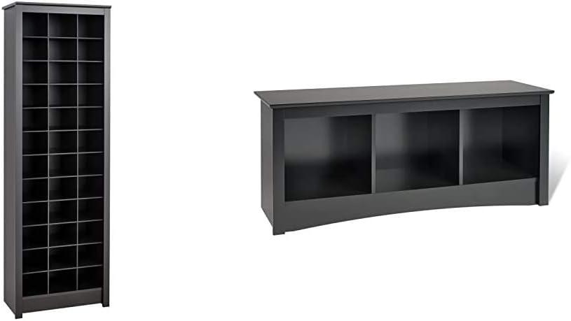 Prepac Shoe Storage Cabinet ショッピング 36 Pair Black Rack Sonoma 3-Cubb 海外限定