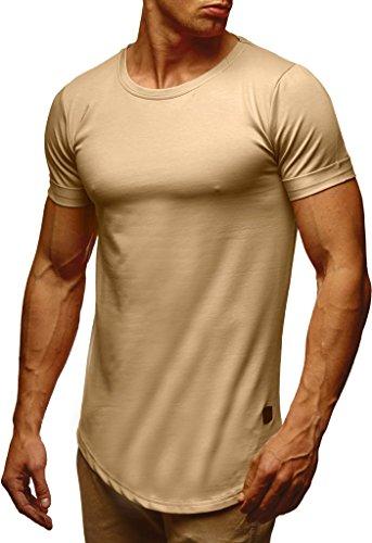 Leif Nelson Herren Sommer T-Shirt Rundhals-Ausschnitt Slim Fit Baumwolle-Anteil Moderner Männer T-Shirt Crew Neck Hoodie-Sweatshirt Kurzarm lang LN6368 Beige Medium