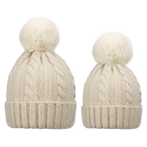 Sombreros de Punto Pompom para Madre y Bebé, 2PCS Gorro Beanie Suave Piel Sintética Pom Hairball de Invierno de Esquí para Padres e Hijos
