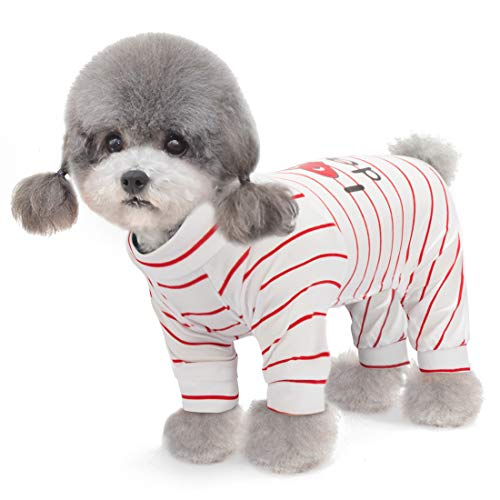 2-Pack Cotton Dog Pajamas Lightweight Dog Onesies for Small Medium Dogs and Cats Puppy Body Suits Cute Baby Dog Jumpsuit I Love My Mommy/Daddy Printed Pet Clothes, Grey Stars/Red Stripes, S.