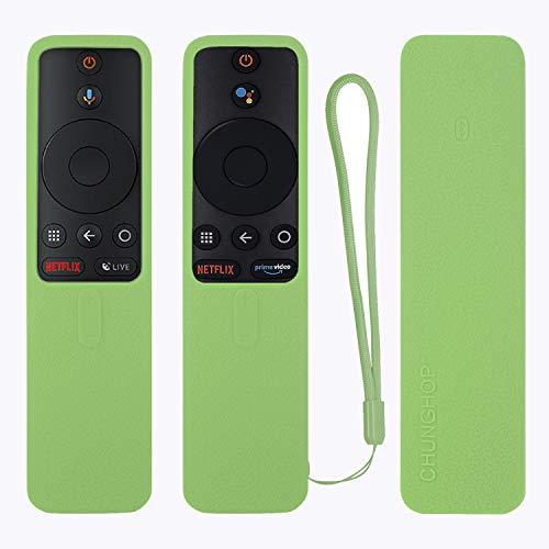Protective Silicone Remote Case for XIAOMI MI Box S Remote Cover Shockproof Remote Holder for MI Box S Remote Anti-Slip Anti-Lost with Lanyard (Glow in Dark Green)