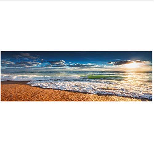 XIONGSHENG Natürlicher Goldstrand Sonnenuntergang Landschaft Poster und Drucke Leinwand Malerei Mediterran Wandkunst Bild für Wohnzimmer 20x59 Zoll (50x150cm) Kein Rahmen