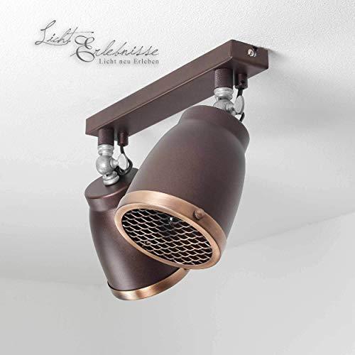 Stijlvolle plafondlamp in bruin koper industriële stijl 1x E27 tot 60 Watt 230 V van metaal & draaibaar gang keuken eetkamer lampen verlichting binnenverlichting
